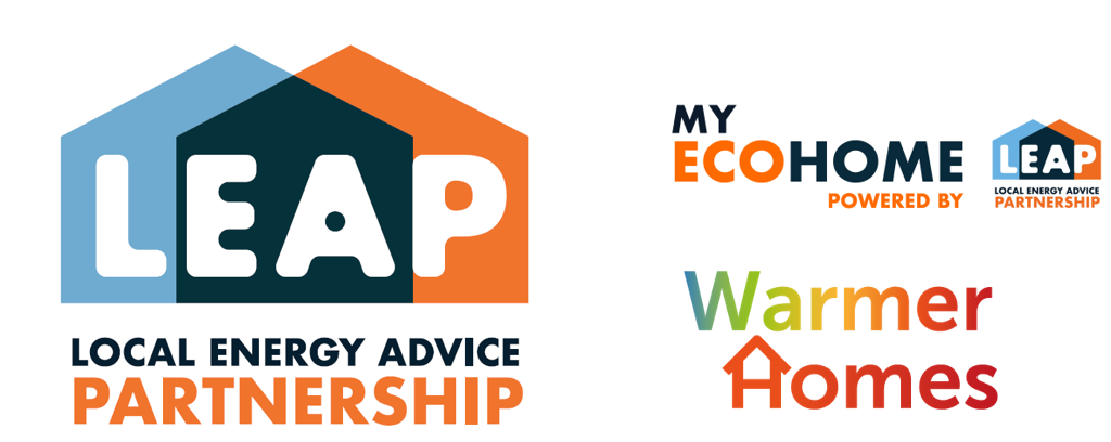 LEAP, MyEcoHome and Warmer Homes logo